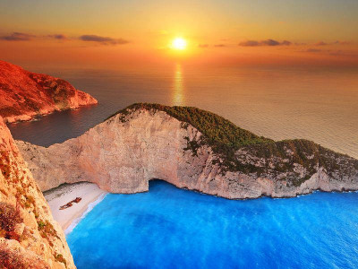 Navagio beach as seen from above